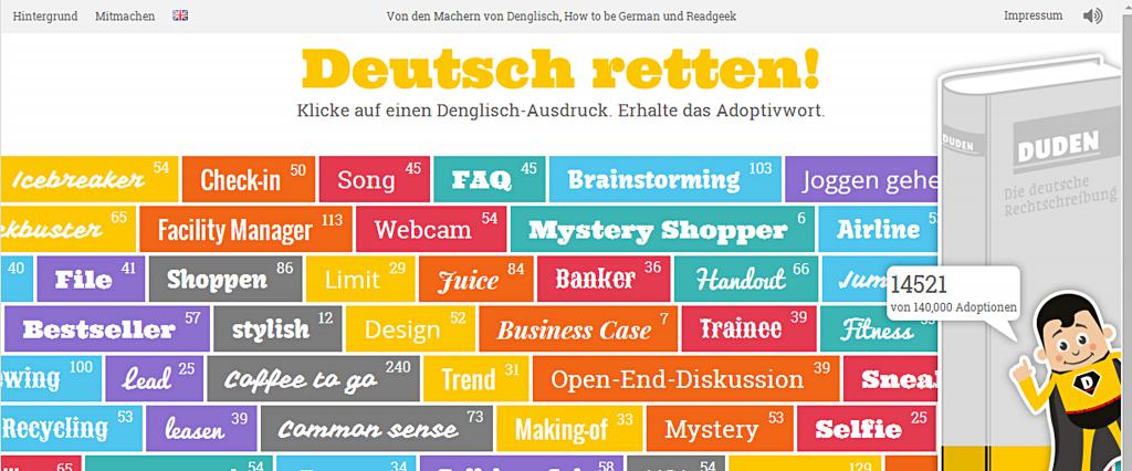 Screenshot: Deutsch retten, eine Website zur Reduzierung von Anglizismen.